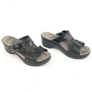 Dansko Black Leather Sandals - Size 39